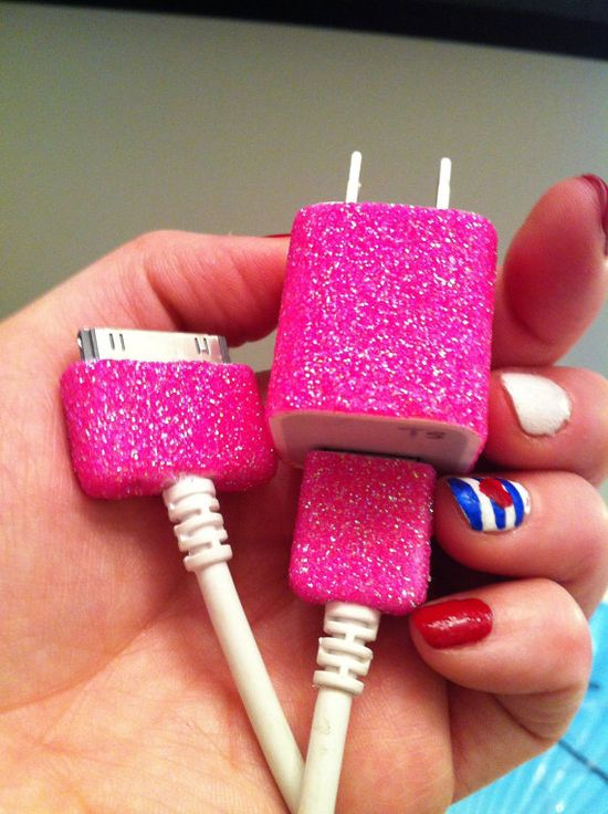 iPhone Charger customized glitter charger by glitzznglam on Etsy, $13.00
