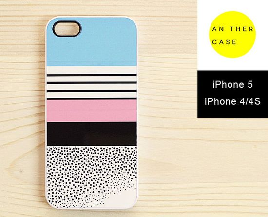Pastel-coloured iPhone 5 case, iPhone 4 case, iPhone 4S case - dots and stripes