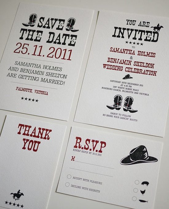 Western / Country Theme - Wedding Invitation Set  You pay to download the pdf file and then print it all out at home!