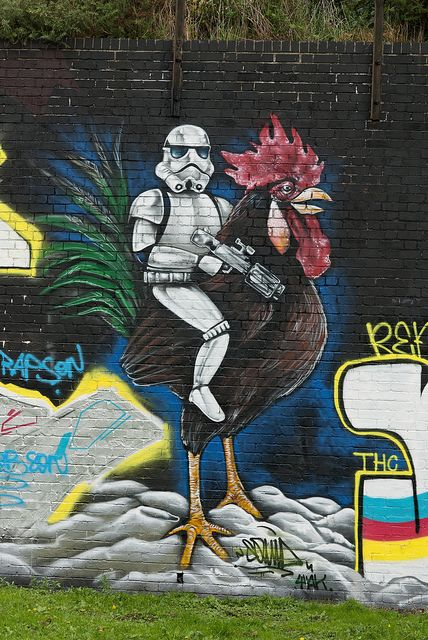 Stormtrooper riding a Cockerel, Cardiff, Wales