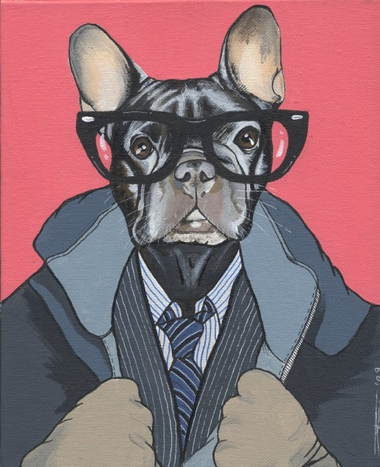 Hipster French Bulldog Painting 21X30cm by blackspecs on Etsy, €150.00