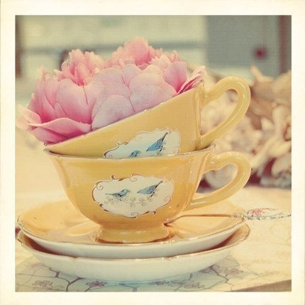 yellow bird teacups