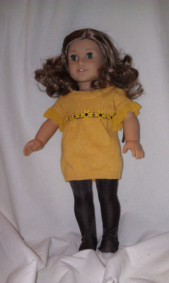 gold sweater dressbrown tights  for american girl by maggieandjoan, $13.00