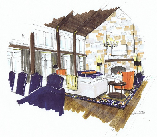 Living Room Design and Rendering, Michelle Morelan