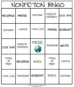 Kids learn the elements of nonfiction when they play nonfiction Bingo! Run a weekly nonfiction contest! Laminate for future use. priced item