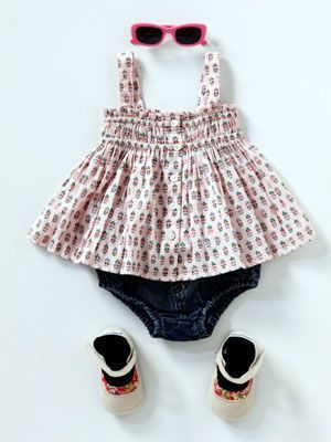 Kids fashion: Summer clothing styles for baby girls 50's style Top, Country Road, rrp $34.95; Bloomers, Ouch, rrp $28; Shoes, Cheeky Little Soles, rrp $29.95; Sunglasses, Bright Bots, rrp $8.95 Photos - Yahoo! New Zealand