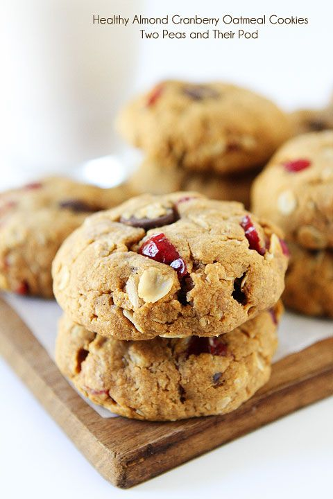 Healthy Almond Cranberry Oatmeal Cookies Recipe on twopeasandtheirpo...