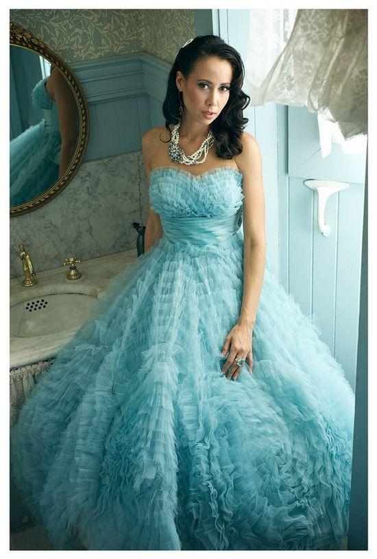 Vintage 50's gown in aqua...fabulous!