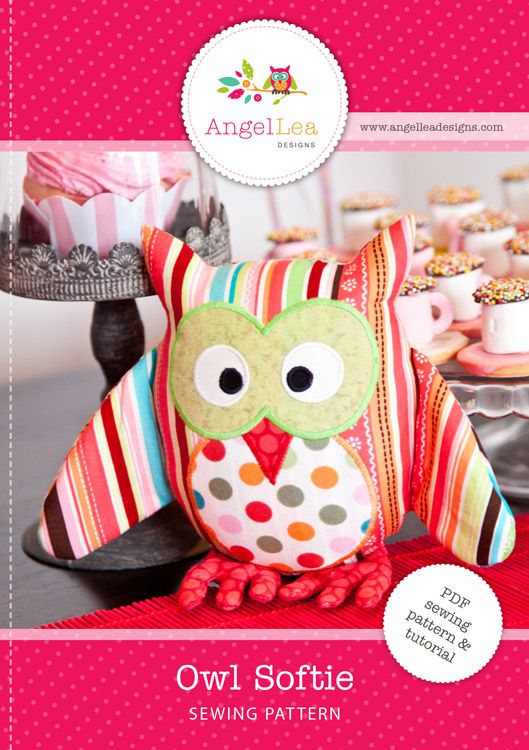 fairytale frocks and lollipops :: angel lea designs, anthea christian, owl softie, hoot owl, hootie, stuffed animal, toy, soft animal, nursery, child, bird, sewing, instant, e-pattern, downloadable, pdf, e-book, tutorial