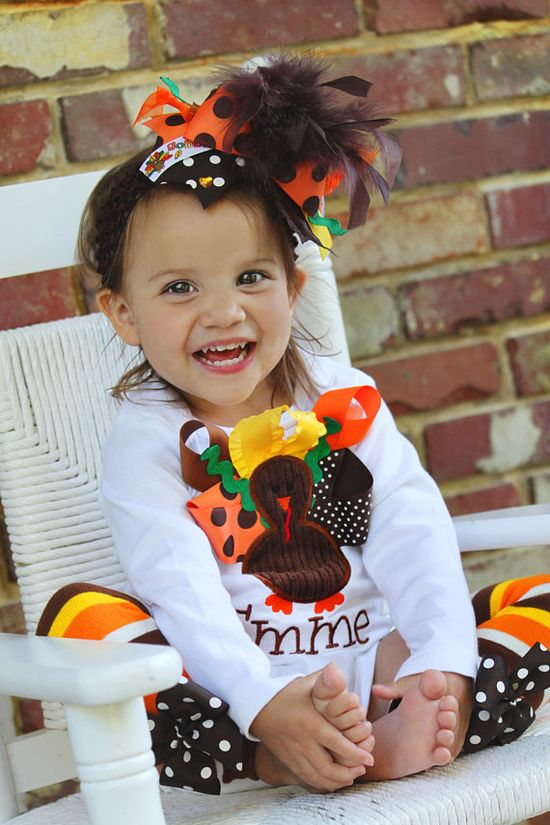 Baby Girl Thanksgiving oufit -- My Little Turkey -- turkey onesie, leg warmers and Over The Top bow on Etsy, $62.00