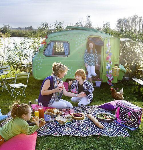 Little green caravan. What a fun picnic!