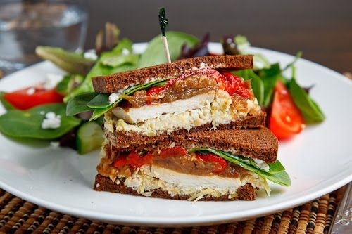 Roast Turkey Sandwich with Artichoke Tapenade, Caramelized Onions and Roasted Red Peppers