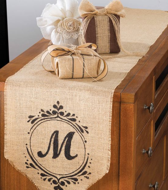 Monogrammed table runner on #burlap & #burlap wrapped packages :) #diy