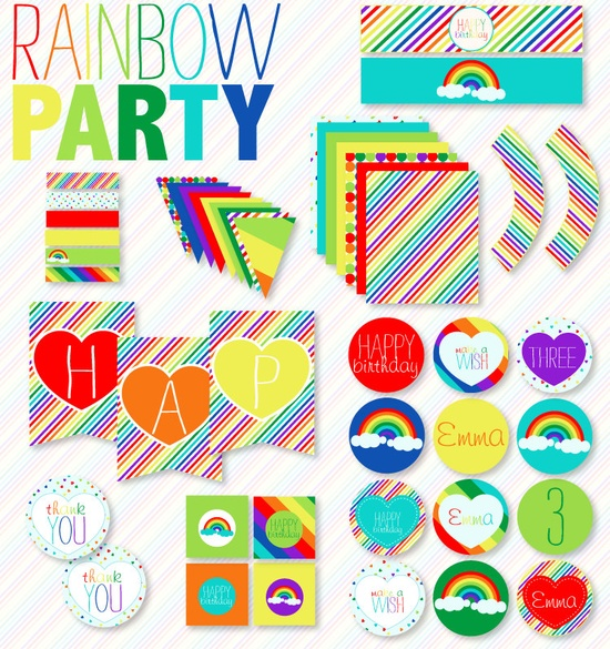 Rainbow Party PRINTABLE Custom Full Collection by Love The Day. $45.00, via Etsy.