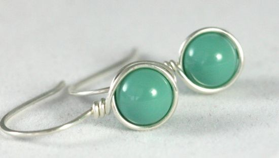 Green Turquoise Earrings Wire Wrapped Jewelry by JessicaLuuJewelry, $16.00