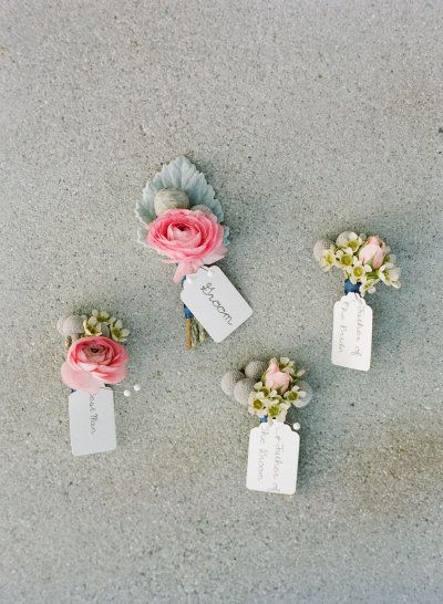boutonnieres with pops of pink