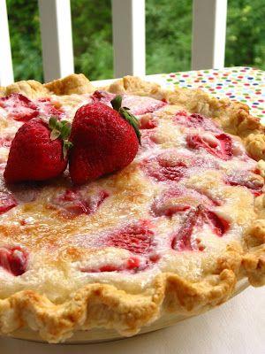 Summer Strawberry Sour Cream Pie