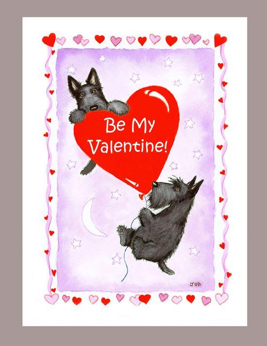 Scottish Terrier Valentine Card. $2.90, via Etsy.