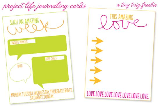 fun and free journaling cards for project life
