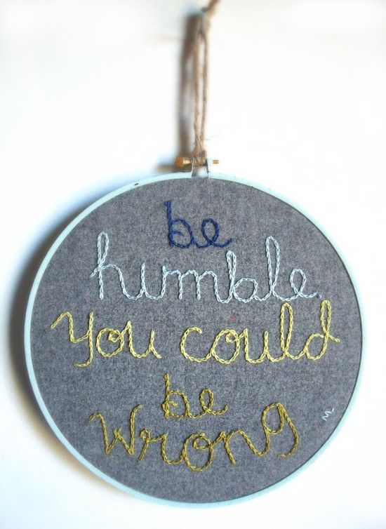 """Embroidery Hoop """"Be Humble"""" / Inspiration Quote / Grey and Green / 8"""""""