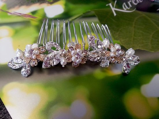 Gold and silver hair comb by One World Designs Jewelry on Etsy