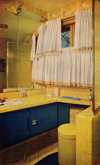 MCM bathroom. I love cabinets on legs. Better Homes & Gardens Decorating Book, 1956 edition.