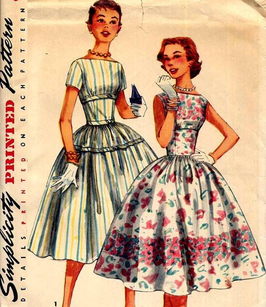 Vintage 1950s Wide Midriff Shelf Bust Dress by PrettyPatternShop, $14.95