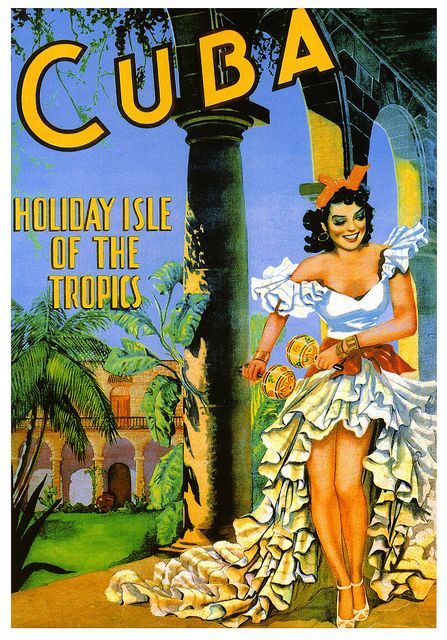 A vibrantly hued, beautifully illustrated travel post for Cuba from 1949. #vintage #travel #poster #1940s #Cuba