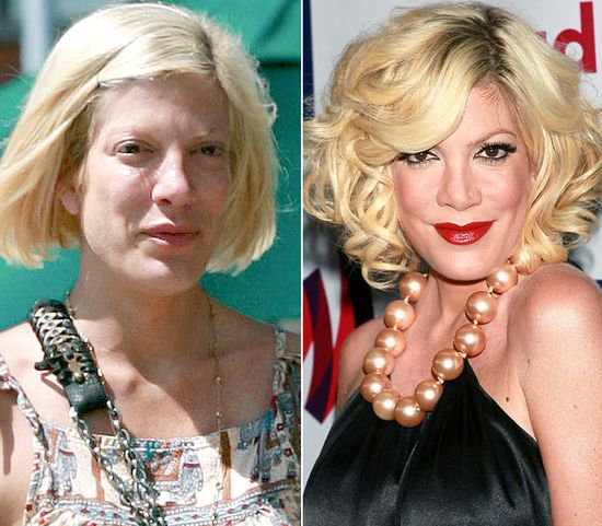 Tori Spelling  On left: running errands in L.A.'s Brentwood neighborhood on Aug. 7, 2010  On right: attending the 22nd Annual GLAAD Media Awards in L.A. on Apr. 10, 2011