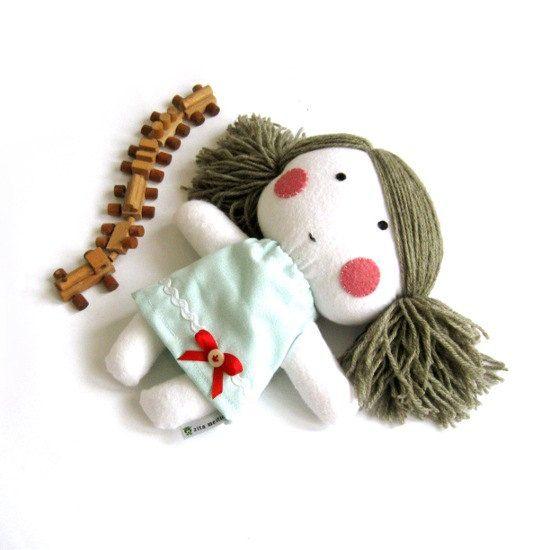 """Rag doll toy plushie baby girl girlie kid handmade plushie softie white light blue dress cuddly soft child friendly 11"""" 27 cm. $42.00, via Etsy."""