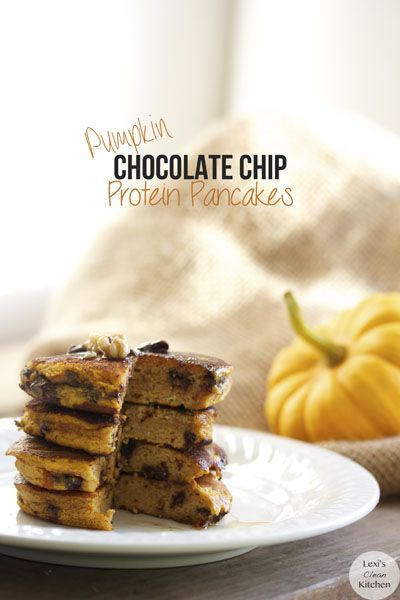 Pumpkin Chocolate Chip Protein Pancakes from Lexiscleankitchen...