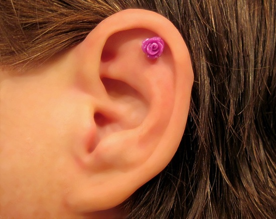 "No Piercing ""Tiny Rose"" Magnetic Cartilage Earring 1 Earring - Not a Pair. $10.00, via Etsy."