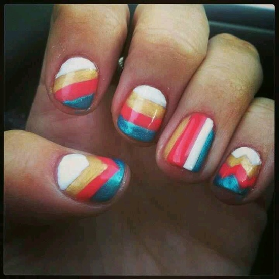 Stripes nail art by misty with shellac and gold gelish
