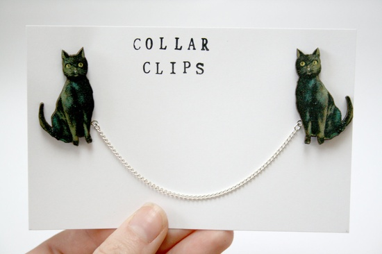 Black Cat Wooden Collar Clips. £9.00, via Etsy.