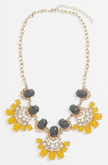 Yellow + Gray 'Vintage Floral' Statement Necklace