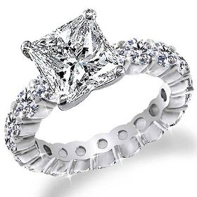 3.50 Ct Princess Cut Diamond Eternity Band Anniversary Engagement Ring 14k Gold Center 2.00 Carat D-E VS2-SI1