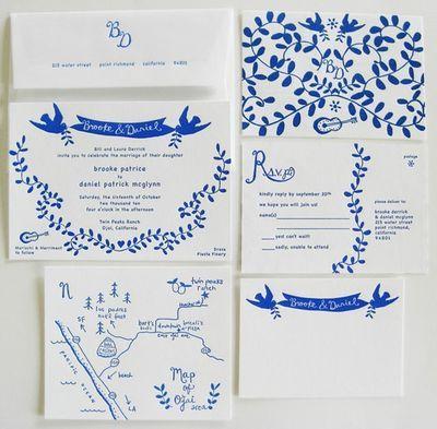 blue invitation set