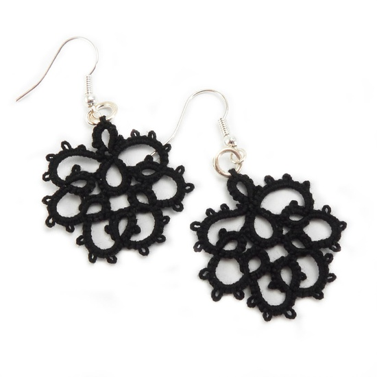 Gothic earrings  Black lace earrings tatting lace jewelry.