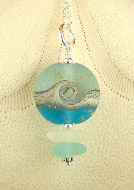 White and Aqua Sea Glass