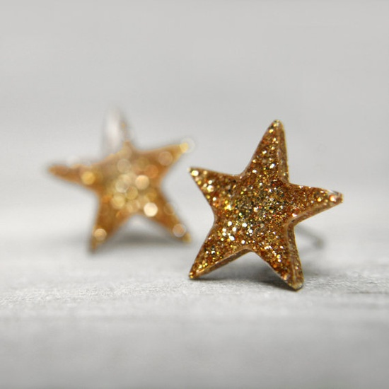 sparkly gold star stud earrings