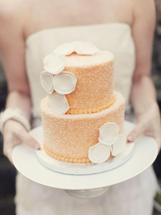 Orange Wedding Cake with a sugar crystal glaze