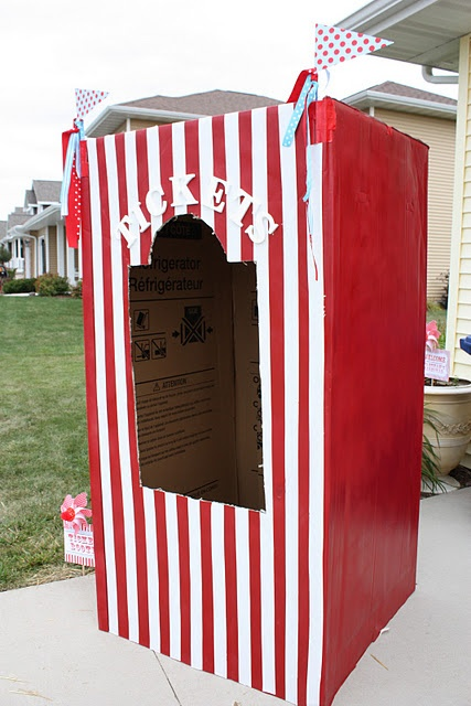 Carnival Party- Refrigerator Box Ticket Booth (great photo op. too!)