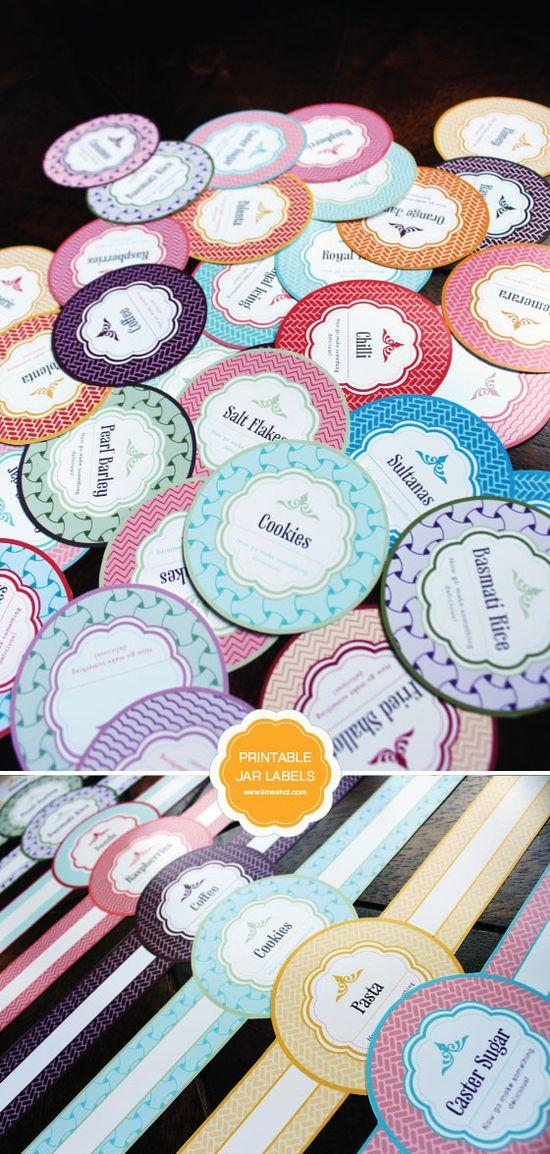 Free Printable Mason Jar Labels #Circles #Bands #Pantry #Organize #Gift