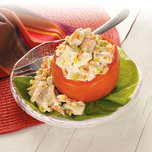 Ingredients        4 medium tomatoes      2-3/4 cups cubed rotisserie chicken      1/2 cup shredded carrot      1/4 cup chopped green onions      1/3 cup mayonnaise      1/3 cup ranch salad dressing      1/4 cup chopped walnuts