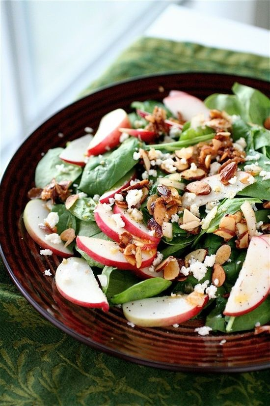 I love the appealing hit of sweetness the crisp red apples lend this delicious Spinach and Almond Salad. #spinach #apple #almonds #vegetarian #food #salad