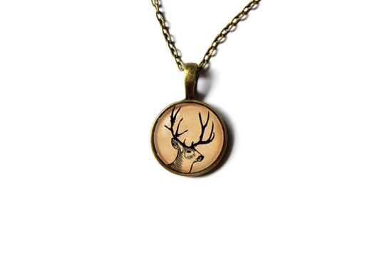 Art deer pendant Woodland necklace Wild animal by newwoodland, $12.00