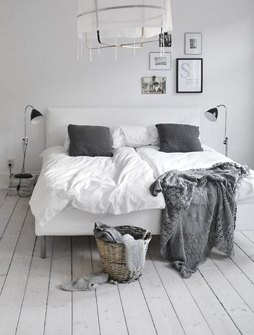 #bedroom #grey #white