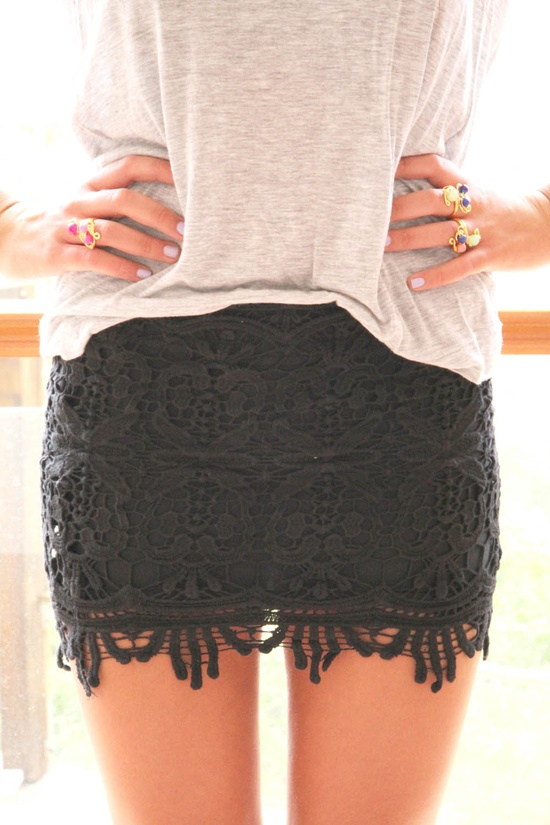 A soft tee and a black lace skirt