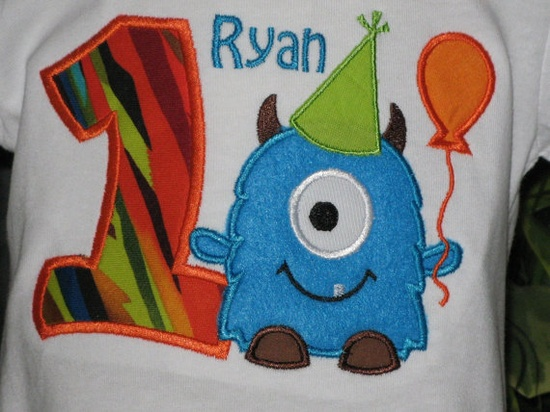 Personalized monster tee for birthday boy