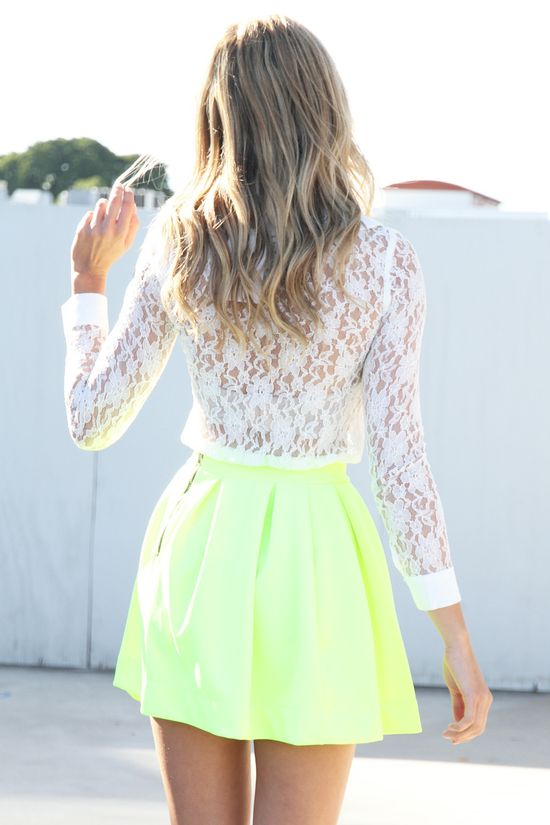 lace and neon. two summer trends in one outfit!